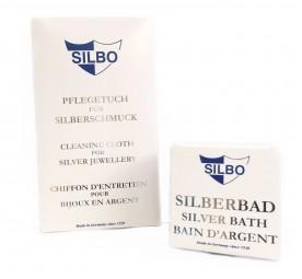 Schmuckpflege Set für Silberschmuck ~ Putztuch & Silberbad