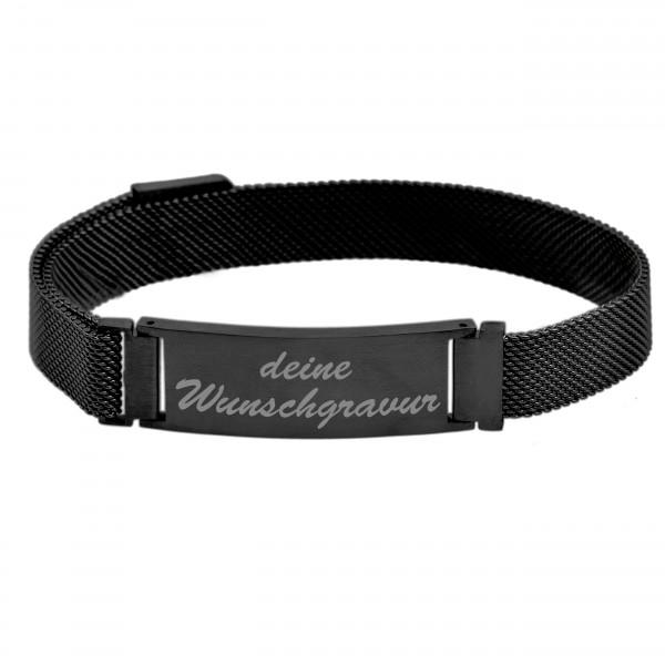 schwarzes Herrenarmband mit magnetischem Meshband MyOwnName