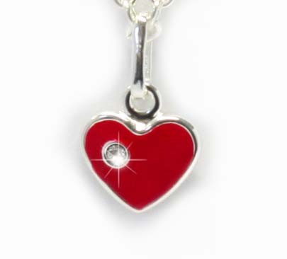 roter Herzanhänger mit Stein