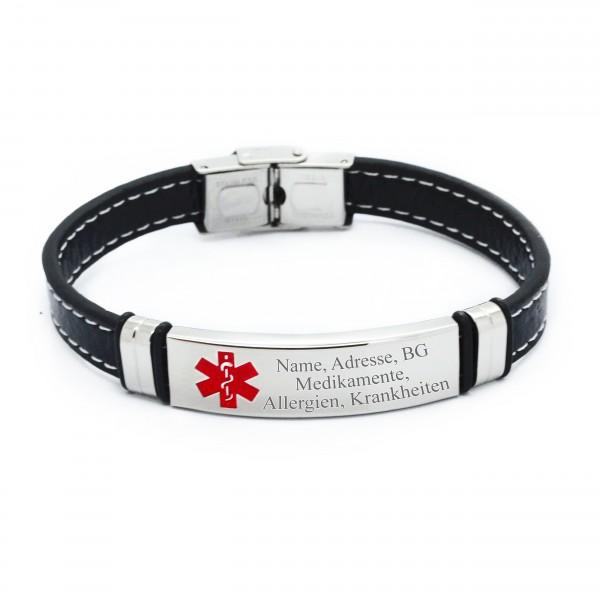 Notfallarmband Leder Stahl Herrenarmband mit internaionalem Notfallzeichen MyOwnName