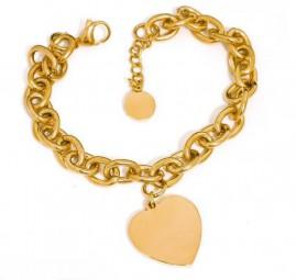 goldenes Damenarmband mit Herzanhänger ~ gratis Gravur
