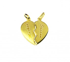 2 Herzhälften aus 925er Silber ~ vergoldet ~ Kette mit Gravur