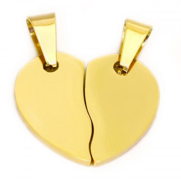 goldener Partneranhänger geteiltes Herz aus Edelstahl MyOwnName
