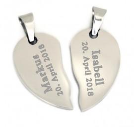 Partneranhänger geteiltes Herz aus Edelstahl ~ doppel Herz