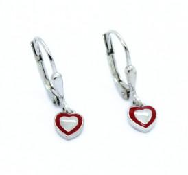 schicke rote Herz Ohrhänger ~ Ohrschmuck für Mädchen