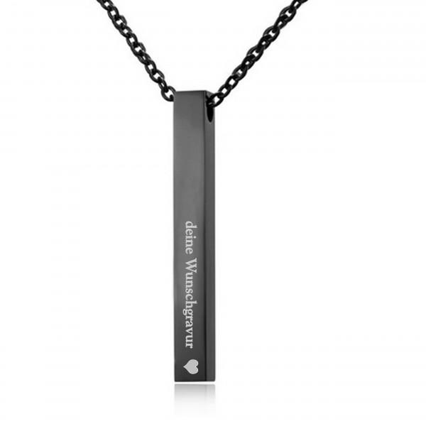 schwarze Barrenkette Stabkette mit gratis Wunschgravur MyOwnName