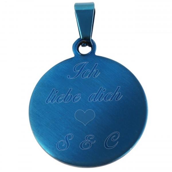 blauer Gravuranhänger aus Edelstahl mit Wunschgravur MyOwnName