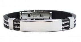 sportliches Armband mit gratis Gravur - Kautschuk Edelstahl