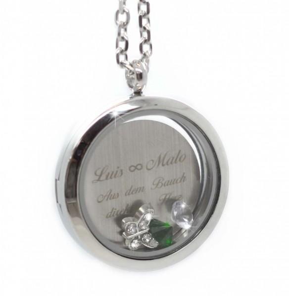 Glasspeicher Medaillon mit Gravurplatte und Charms MyOwnName