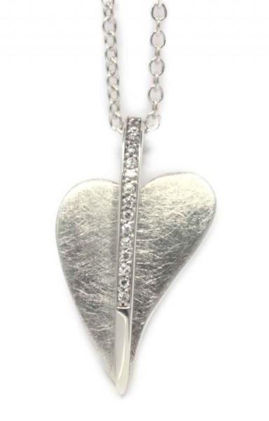 gebürsteter Herzanhänger mit Zirkonia Steinen