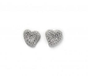 Damenorhstecker Herz aus 925er Silber mit Zirkonia Steinen
