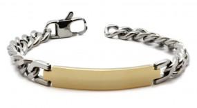 silber-goldenes Namensarmband | Panzerarmband aus Edelstahl mit Lasergravur