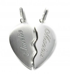2 Herzhälften aus 925er Silber ~ Kette mit Gravur