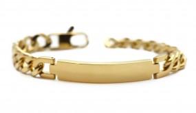 gold farbenes Namensarmband | Panzerarmband aus Edelstahl mit Lasergravur