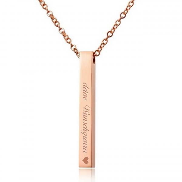 rosé Barrenkette Stabkette mit gratis Wunschgravur MyOwnName