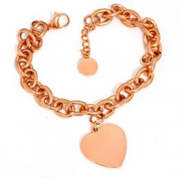 rosé Damenarmband mit Herzanhänger ~ gratis Gravur