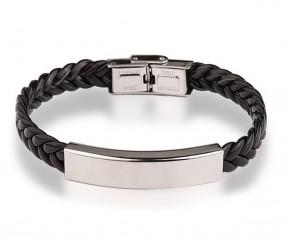 geflochtenes Armband mit gratis Gravur schwarz