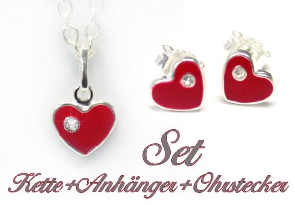 Set rote Herzen Ohrstecker Anhänger Kette