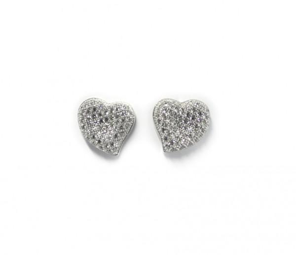 Herzohstecker Silber rhodiniert mit Zirkonia Steinen
