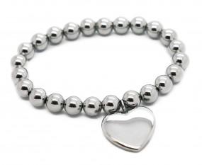 Kugelarmband mit Herzanhänger ~ gratis Gravur