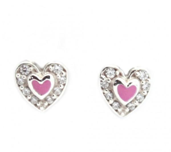 funkelnde Glitzerohrstecker für Kinder mit rosa Herz Silber MyOwnName