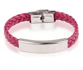 geflochtenes Armband mit gratis Gravur pink