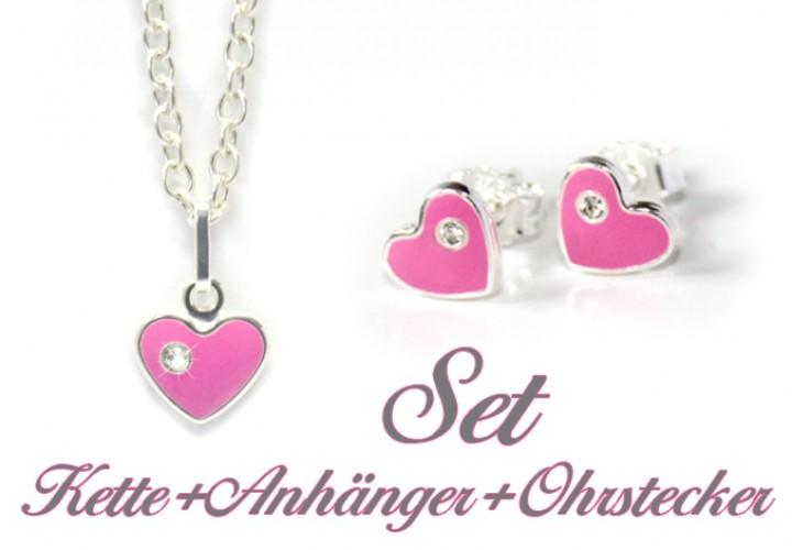 Kinderschmuck  Kinderschmuck Set rosa Herzchen mit Zirkonia | MyOwnName.de ...