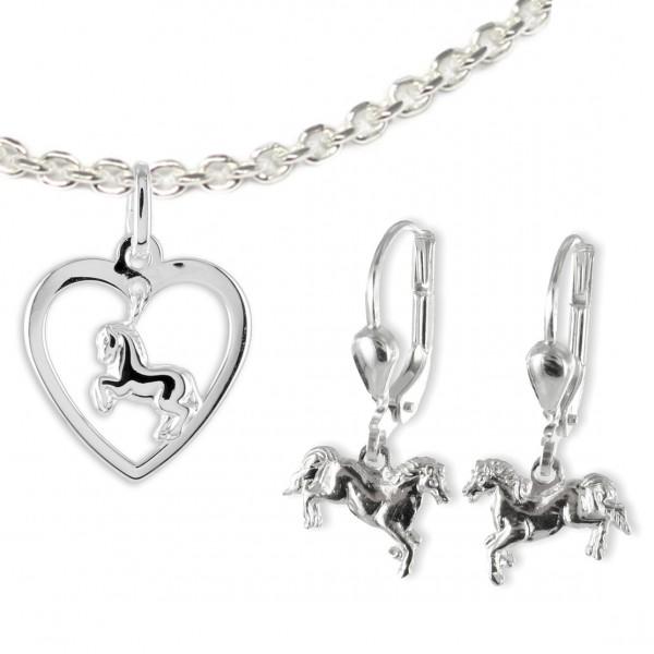 Kinderschmuck Pferd Set Anhänger Herz Ohrhänger Silber MyOwnName