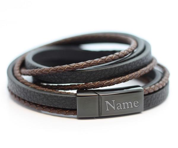 Lederarmband Magnetschließe schwarz braun mit Gravur MyOwnName