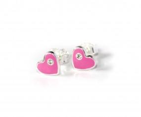 rosa Kinderohrstecker Herz aus 925er Silber