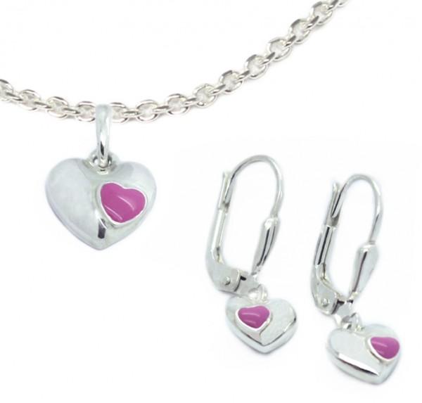 Mädchenschmuck Ohrhänger und Anhänger Herz rosa Silber MyOwnName