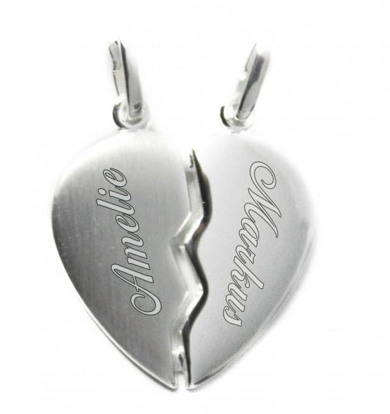 geteiltes Herz Anhänger Silber