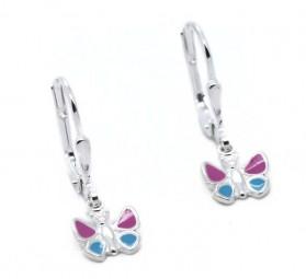 Schmetterling Ohrhänger ~ rosa-blau ~