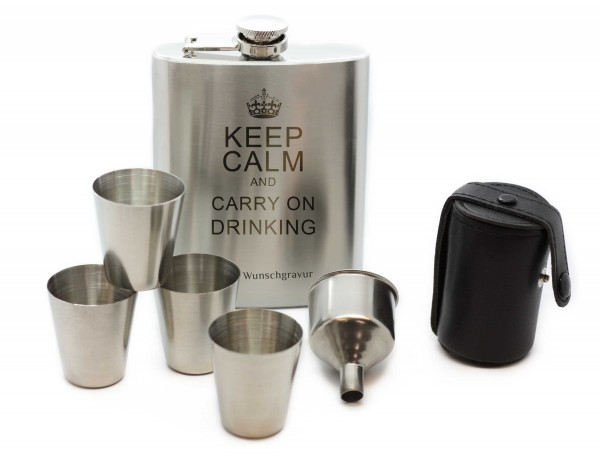 Flachmann Set 6-teilig keep calm and carry on drinking MyOwnName