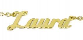 vergoldete Namenskette aus 925er Silber