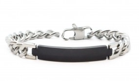 silber-schwarzes Namensarmband | Panzerarmband aus Edelstahl mit Lasergravur