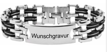 elegantes Herrenarmband mit gratis Gravur ~ Edelstahl und Kautschuk