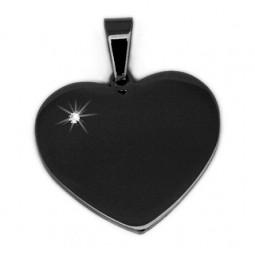Herzanhänger- Stein- schwarz mit Gratisgravur