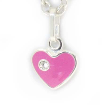 rosa Herzanhänger mit Stein