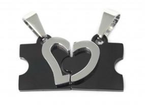 schwarzer Partneranhänger - Puzzle Kette mit Gravur