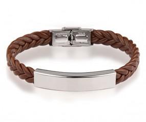 geflochtenes Armband mit gratis Gravur braun
