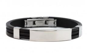 sportliches Armband mit gratis Gravur - Edelstahl+Kautschuk