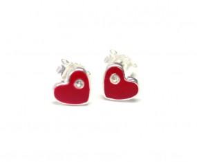 rote Herz Kinderohrstecker mit Glitzersteinchen 925er Silber