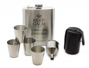 Flachmann Set • Lasergravur keep calm and carry on drinking