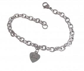 zartes Armband mit Herzanhänger aus Edelstahl