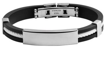 sportliches Armband mit gratis Gravur – Edelstahl+Kautschuk