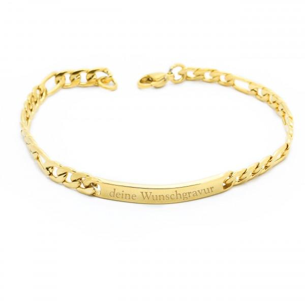 zartes Figaroarmband gold mit Wunschgravur MyOwnName