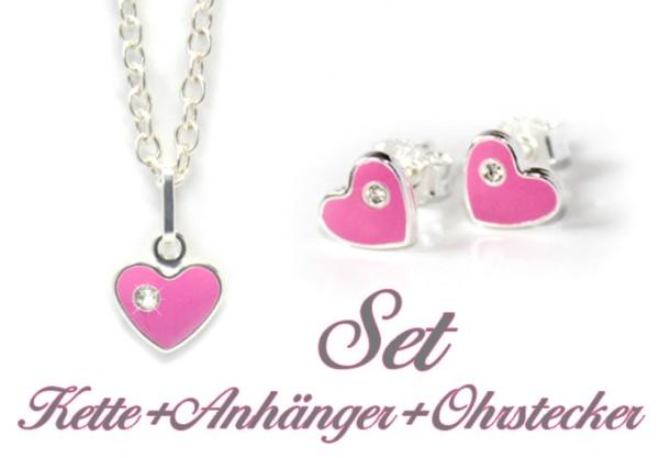 Set rosa Herz Ohrstecker Anhänger Kette