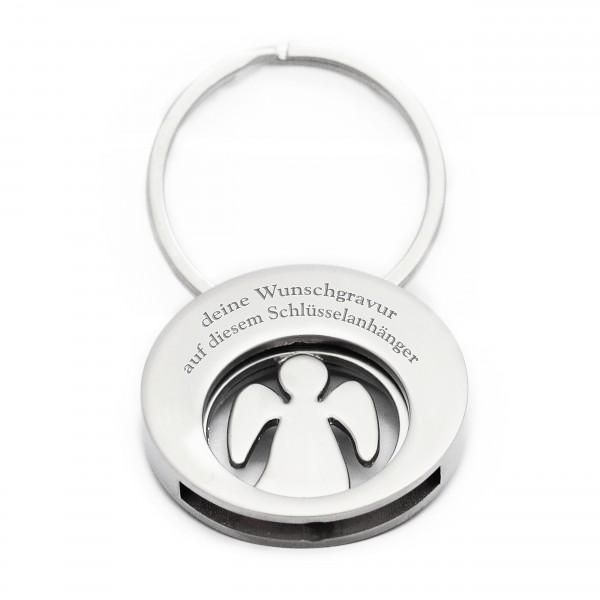 Schutzengel Schlüsselanhänger mit Einkaufwagenchip und gratis Gravur MyOwnName