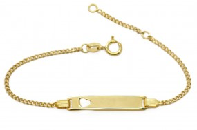 vergoldetes Kinderarmband | Damenarmband ❤ heart ❤ mit gratis Gravur aus 925er Silber
